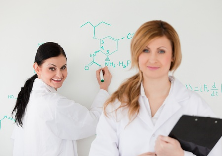Two scientists looking at the camera while being in front of a white board in a lab photo