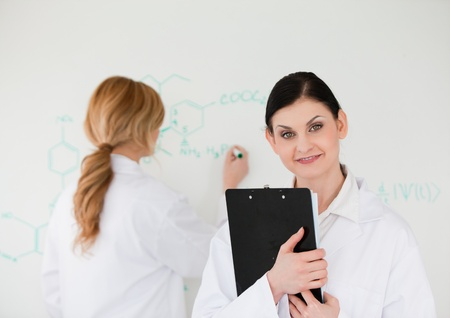 Scientist writting a formula helped by her assistant in a lab Stock Photo - 10196204