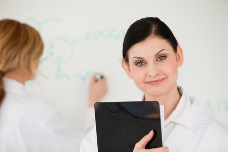 Blond-haired scientist writting a formula helped by her assistant in a lab photo