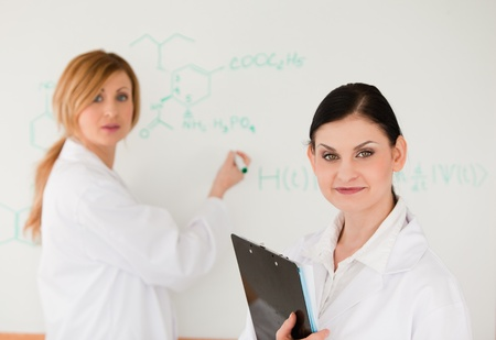 Cute scientist writting a formula helped by her assistant in a lab photo