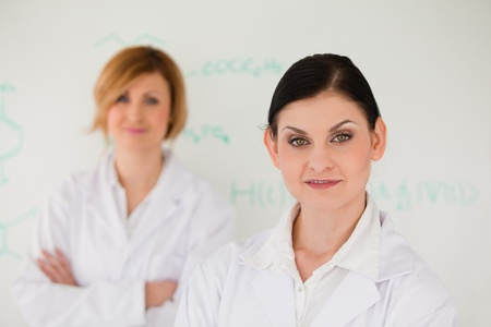 Two cute women in front of a white board in a lab photo
