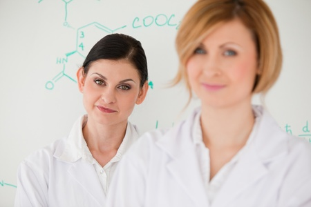 Cute women in front of a white board in a lab photo