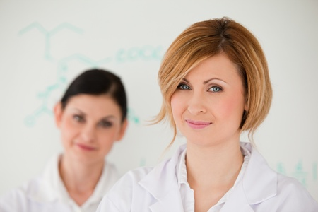 Attractive women in front of a white board in a lab photo