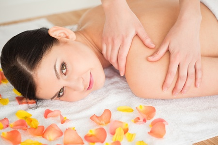 Beautiful brunette lying down and getting a massage in a spa centre Stock Photo - 10206087