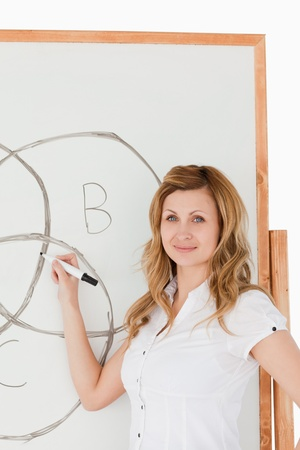 Teacher drawing a scheme on a white board in a classroom photo