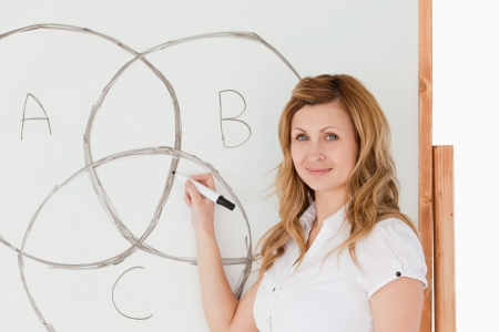 Female teacher drawing a scheme on a white board in a classroom Stock Photo - 10197528