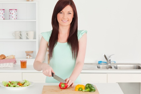 Beautiful red-haired woman cutting some vegetables in the kitchen in her appartment photo