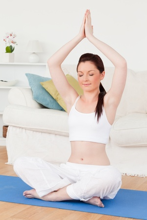 Charming female doing yoga on a gym carpet in the living room Stock Photo - 10198662