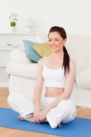 Beautiful woman posing while sitting on a gym carpet in the living room Stock Photo - 10198858