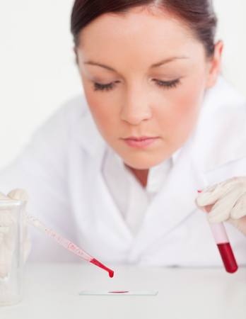 Attractive scientist holding a test tube in a lab photo
