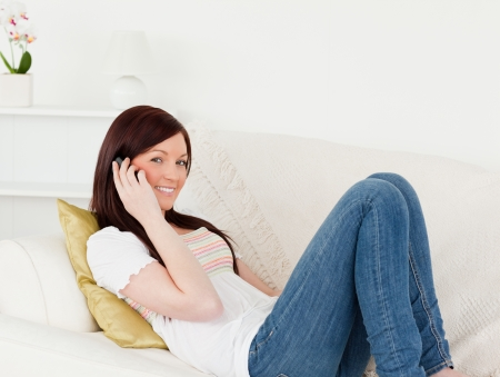 Charming red-haired woman having a conversation on the phone while lying on a sofa in the living room Stock Photo - 10198929