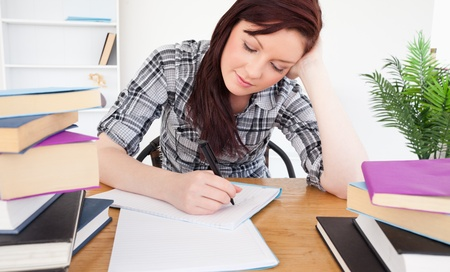 Attractive red-haired female studying at her desk photo