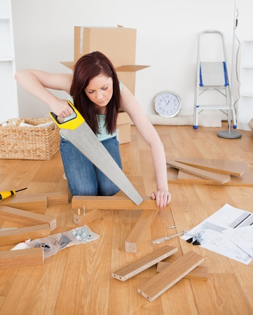 Attractive red-haired female using a saw for diy at home Stock Photo - 10206047