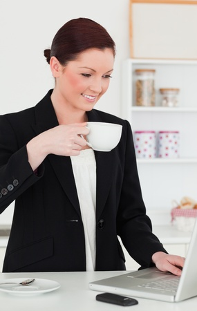 Gorgeous red-haired woman in suit relaxing with her laptop while having her breakfast in the kitchen in her appartment photo