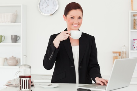 Pretty red-haired woman in suit relaxing with her laptop in the kitchen in her appartment photo