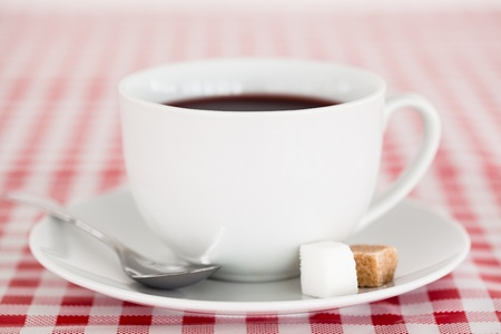 Coffee on a tablecloth photo