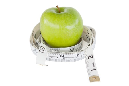 dietetical: Green apple circled with a tape measure against a white background