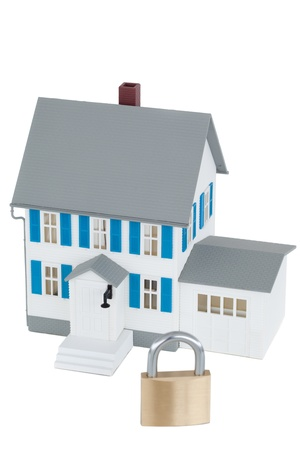 Secured grey house against a white background Stock Photo - 10194986