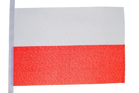 Polish flag against a white background Stock Photo - 10207229