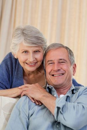 Woman hugging her husband photo