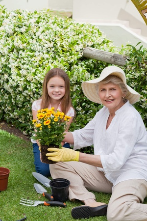 Grandmother with her granddaughter working in the garden Stock Photo - 10206443