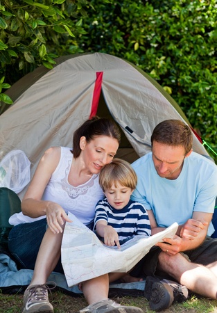 Family camping in the garden photo