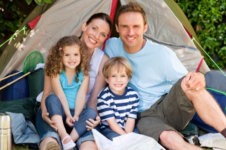 Adorable family camping in the garden Stock Photo - 10199057