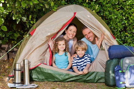 Joyful family camping in the garden Stock Photo - 10206163
