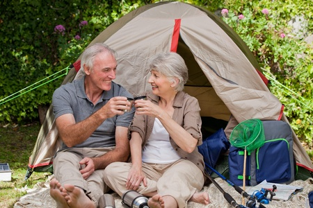 Seniors camping in the garden photo