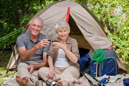 sleeping bag: Seniors camping in the garden