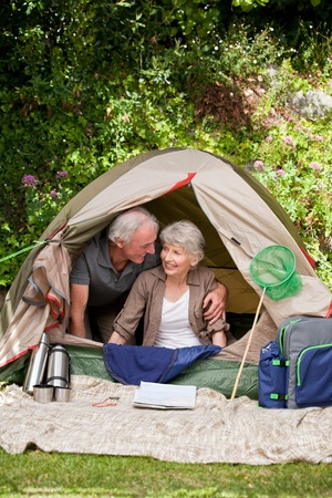 Couple camping in the garden Stock Photo - 10206308