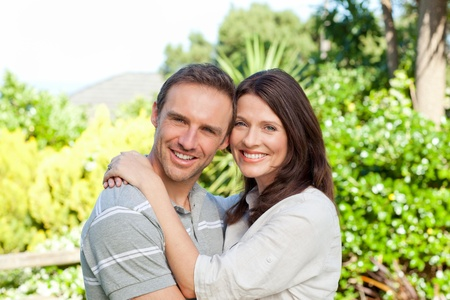 Enamored couple in the garden photo