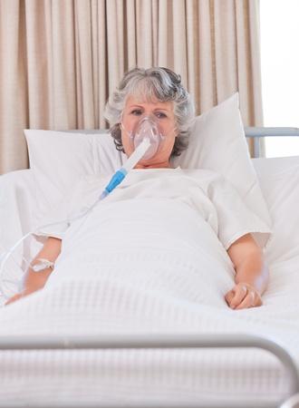 Senior woman with her respirator photo