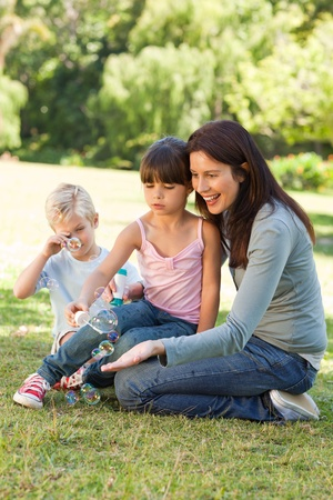 Family blowing bubbles in the park Stock Photo - 10205888