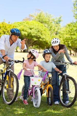 Family with their bikes Stock Photo - 10205273