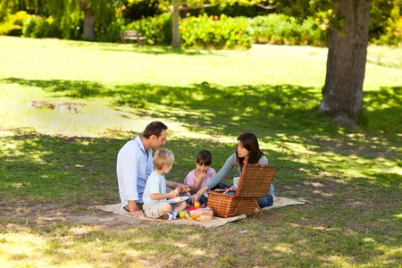 picnicking: Smiling family picnicking in the park