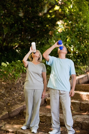 Couple drinking water photo