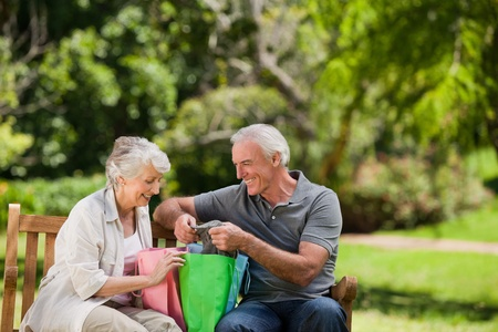 Retired couple with shopping bags Stock Photo - 10217427
