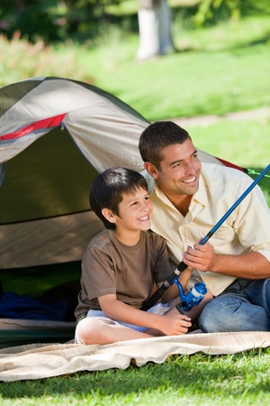 Son fishing with his father Stock Photo - 10218249