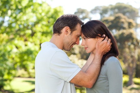 Beautiful lovers in the park Stock Photo - 10217405