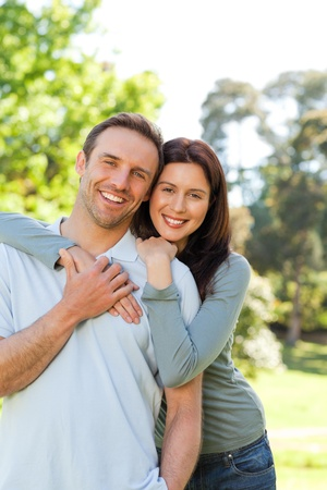 Beautiful couple in the park photo