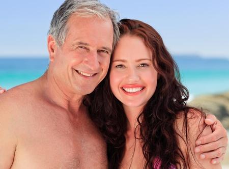 Senior man with his daughter photo