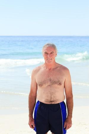 boy underwear: Mature man at the beach Stock Photo