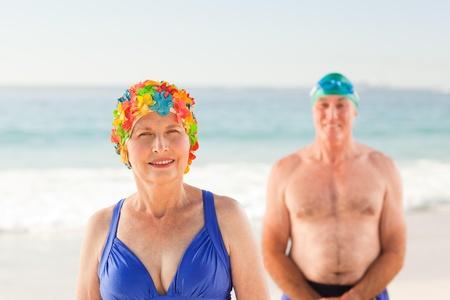 Senior couple at the beach photo