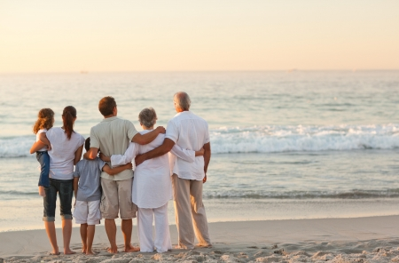 grandparents: Beautiful family at the beach