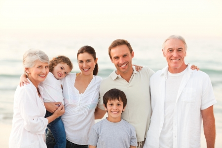 unhappy family: Beautiful family at the beach