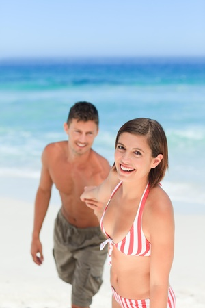 Smiling woman with her husband photo