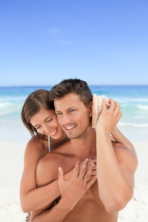 hot wife: Lovers listening to their shell