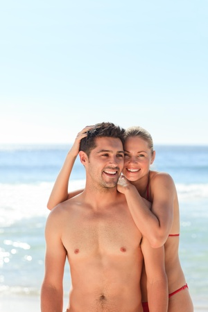 enamored: Enamored couple at the beach