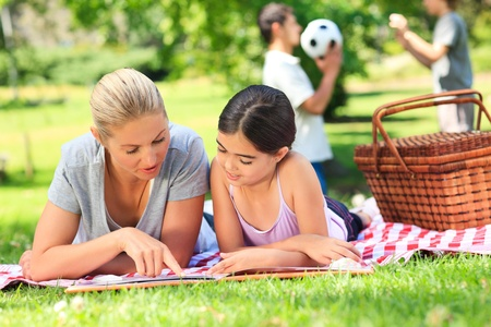 Happy family picnicking in the park Stock Photo - 10218638